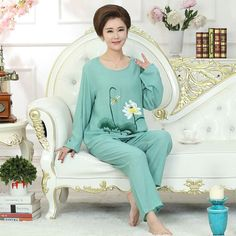 1f8ce577ac Blue Women Embroidery Pajamas Set Full Sleeve Shirt Pant Pajama Suit Cotton  Sleepwear Autumn Nightwear Bath Gown M-XXL