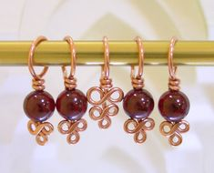 Copper and Garnet Stitch Markers - Set of 5 - Excellent Hand Craftsmanship for Your Knitting