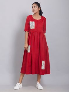 red o neck dress cotton blended wrinkled women dress red o neck dress cotton blended wrinkled women dress Simple Kurti Designs, Kurta Designs Women, Blouse Designs, Frock Fashion, Fashion Dresses, Women's Fashion, Stylish Dresses, Casual Dresses, Casual Frocks
