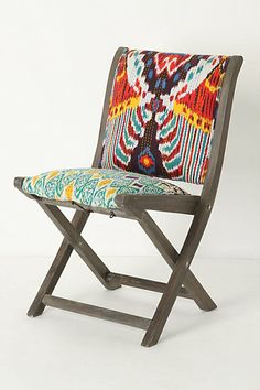 Terai Folding Chair, Red Ikat...on the lookout for folding chairs to reupholster to do this on the cheap