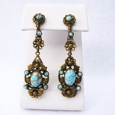 Romantic Vintage Czech Filigree and Faux Turquoise Dangle Earrings from Vintage Jewelry Girl! #vintagejewelry #vintagejewellery #vintageearrings