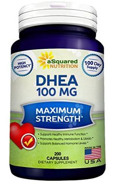 Pure DHEA (100mg Max Strength, 200 Capsules) to Promote Balanced Hormone Levels for Women