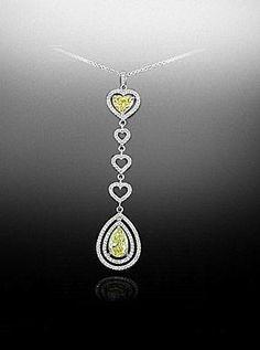 """Fancy Yellow"" Heart and Oval Pendant - Bez Ambar"