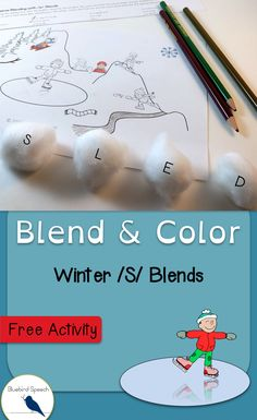 Free Winter Activity | Simple Speech Therapy | S Blends | Cluster Reduction | Use cotton balls to help students segment and blend sounds to make a word in the winter scene. Great for students struggling with the phonological process of cluster reduction. Phonological Awareness Activities, Phonological Processes, Articulation Activities, Speech Therapy Activities, Articulation Therapy, Phonics, Winter Activities For Kids, Free Activities, Speech Therapy Themes