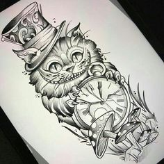 Alice In Wonderland Cheshire Cat Tattoo Alice im Wunderland Cheshire Cat Tattoo Diy Tattoo, Tattoo Cat, Tattoo Thigh, Tattoo Sketches, Tattoo Drawings, Art Drawings, Wolf Drawings, Drawing Drawing, Body Art Tattoos