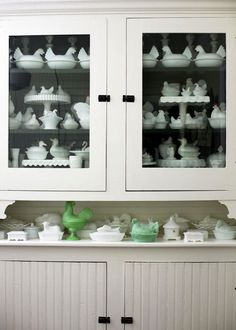 Milk Glass Collection... correction, Milk Glass CHICKEN collection!!!!!
