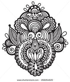 stock-vector-black-line-art-ornate-flower-design-ukrainian-ethnic-style-hand-drawing-vector-illustration-268264820.jpg (403×470)