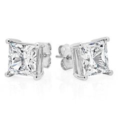 Jewelry Earrings Diamond Stud Earrings Sterling Silver Genuine Princess Cut Cubic Zirconia Carats Total Weight -- Thanks for seeing our picture. (This is an affiliate link) Cute Jewelry, Jewelry Gifts, Handmade Jewelry, Unique Jewelry, Sterling Silver Earrings Studs, Stud Earrings, Beautiful Earrings, Princess Cut, Sims