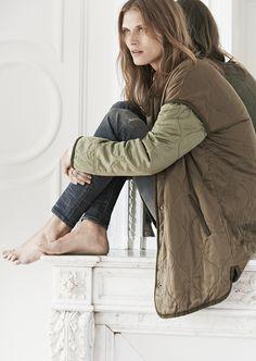 sneak peek / Madewell Fall 2014 catalog. Rivet & Thread satin coat worn with skinny skinny jeans. #fallmadewell