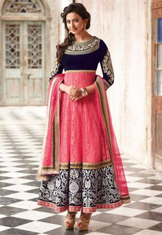 BUSY EMBROIDERY - at anarkali's border, for making statement everywhere you go wearing it. Navy blue and pink designer anarkali dress suit with white embroidery.
