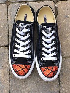 daebac842e98 Basketball Bling. Low Top Converse. Custom Converse Shoes. Womens Shoes.  Basketball Moms