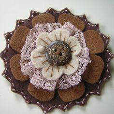 brown felt & lace flower brooch
