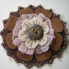 brown felt & lace flower brooch