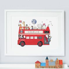 Are you interested in our personalised london bus nursery art? With our Iconic London children's bedroom you need look no further.