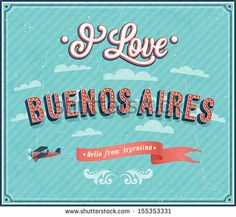 Vintage greeting card from Buenos Aires - Argentina. Vector illustration. by MiloArt, via Shutterstock