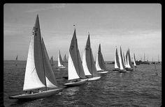 5.5-metre class' start in 1952 Summer Olympics in Helsinki
