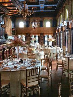db73e689c184 Table Setting at the  CruzBuilding  WeddingReception  IvoryLinens   GoldChargers  IvoryTaffetaNapkins  GoldChiavariChairs