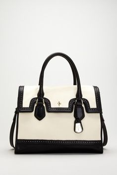 Cole Haan | Brooke Wingtip Small Flap Tote - Ivory/Black