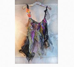 Beautiful Silk Cotton Top  Art to Wear Gipsy Cinderella  Hippi  Tattered Antique Tribal Boho Ruffle