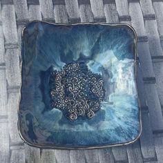 Amaco potters choice blue midnight x2, ancient jasper x2 indigo float x1 on top half. White stoneware.