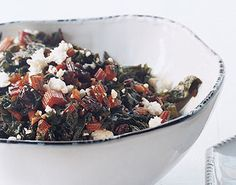 Braised Swiss Chard with Currants and Feta.  Looks so fancy, but is so simple to make!  Be sure to read the reviews, they offer some really good tips and ingredient substitutions.
