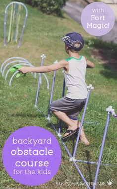 A backyard obstacle course for kids to get moving - using Fort Magic!