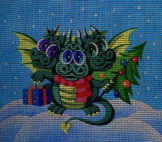 Needlepoint canvas 'Christmas Dragon'