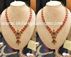 Gold and Diamond jewellery designs: beautiful antique ruby and emerald necklace Ruby Jewelry, Jewelry Model, Bridal Jewelry, Gold Jewelry, India Jewelry, Temple Jewellery, Trendy Jewelry, Simple Jewelry, Antique Jewelry