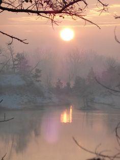Sunrise at the lake in Tecumseh, Michigan