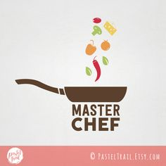 Reinvent your food logo with this Master Chef logo with pan and spices. It features a frying pan with spices in fun graphic elements. #GraphicDesign #customlogo #branding #foodlogo #restaurantlogo #dininglogo #masterchef #cheflogo