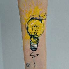 Tattoo bursting lightbulb idea. I really like it. I think something like this would make a cool cover for me and Bobcatt's podcast. With more colors than that I think.