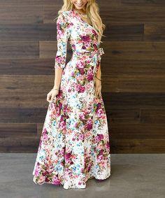 Another great find on #zulily! Cream & Pink Floral Surplice Maxi Dress #zulilyfinds