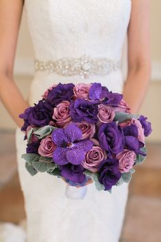The Bridal Bouquet of Roses and Orchids. Wedding at Four Seasons. Photography by Meg Ruth. Floral and Decor by Naakiti Floral. Purple Wedding Flowers, Purple Orchids, Wedding Bouquets, Purple Teal, Wedding Favors, Our Wedding, Dream Wedding, Wedding Unique, Luxury Wedding