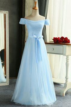 Off shoulder prom dress, ice blue chiffon prom dress, prom gown wedding dress
