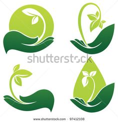 green hands, vector collection of ecological symbols and signs