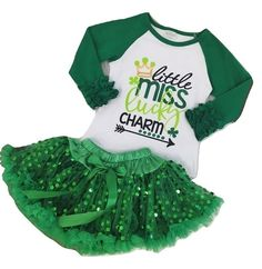 44b3f93fed54 Girls St Patricks Day Outfit Set 2 Pc Lucky Charm T Shirt Top+Sequin Tutu