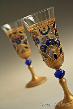 #Champagne #Glasses #Wine Glasses Wedding Glasses Hand Painted, Gold Royal Blue #Wedding Glasses, set of 2 by NevenaArtGlass on Etsy
