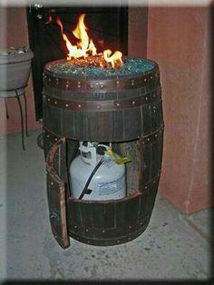 Wine barrel patio heater.