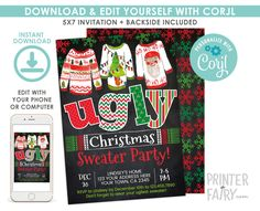 Ugly Sweater Christmas Party Invitation, EDITABLE, Christmas Party, Ugly Sweater Party Invitation, DIGITAL, Instant Download Ugly Sweater Party, Ugly Christmas Sweater, Christmas Party Invitations, Birthday Invitations, Digital Invitations, Christmas Birthday, Being Ugly, Etsy, Christmas Party Invitation Wording