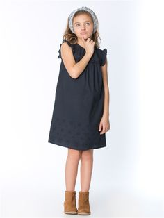 ROBE FILLE BRODERIE ANGLAISE BLANC+MARINE