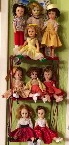 """10-11"""" 1950's vinyl/hard plastic glamour dolls grouped by outfit color! Horsman Cindy, Eegee, Circle P, Vogue Jan and Jill, Cosmopolitan Ginger, Nancy Ann."""