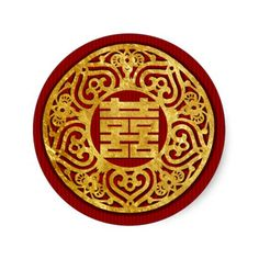 gold Chinese Double Happiness Wedding Stickers 05