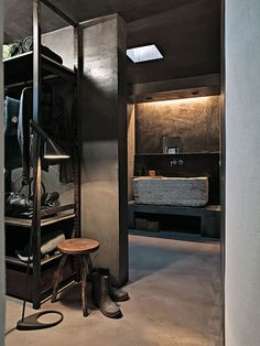that sink! how manly #concrete #bathroom #closet