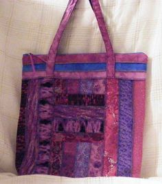 Purple Stripped Soft Sided Back to school Tote Bag by MASBags, $30.00 USD