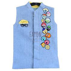 Hit wardrobe refresh with this trendy Nehru jacket. Baby Boy Dress, Baby Boy Outfits, Kids Outfits, Baby Boy Fashion, Kids Fashion, Boys Kurta Design, Kids Wear Boys, Kids Ethnic Wear, Kids Dress Patterns