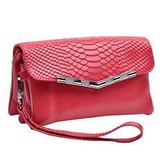 Missmay Women's Genuine Leather Purse Wallet Wristlet Crossbody Shoulder Clutch Crocodile Evening Bag Rose. 1.Material:Genuine leather(PU leather is NEVER used in our products),cotton/leather/polyester/PU linings, Design with crocodile pattern. 2.Compartment:3 main zippered pockets,1 zippered pockets inside, 3 ID Credit card slot,top cover closure with hasp lock to protect your properities, Fit cellphone as Iphone 4 5 5S,credit cards, bills,coins,makeups. 3.Colors:10 Colors…