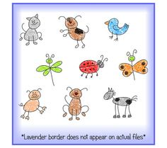 Cute Animals and Bugs Stick Figures Clipart Bundle by SpryMedia