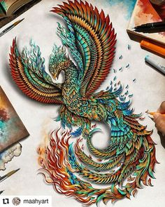 Like the detail. And maybe using different colors then the typical Phoenix in flames ? Phoenix Tattoo Feminine, Phoenix Bird Tattoos, Phoenix Tattoo Design, Tattoo Dragon And Phoenix, Phoenix Back Tattoo, Phoenix Design, Phoenix Artwork, Phoenix Drawing, Phoenix Images