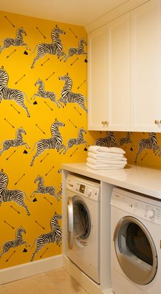 room decor 10 Reasons Why You Should Paint Your Laundry Room Yellow yellow zebra wallpaper Zebra Wallpaper, Yellow Laundry Rooms, Modern Laundry Rooms, Laundry Room Storage, Laundry Room Design, Basement Laundry, Yellow Kitchen Decor, Kitchen Colors, Kitchen Ideas
