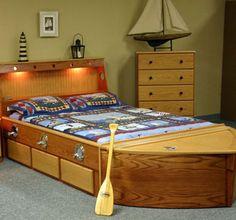 Custom Made Oak Boat Bed by WWBEDS CUSTOM FURNITURE